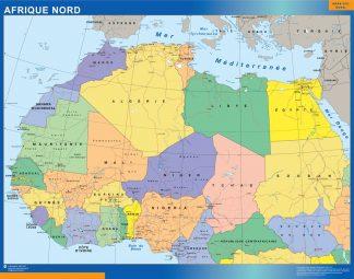 Carte Afrique Nord affiche murale