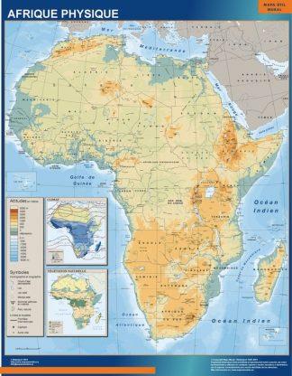 Carte Afrique Physique affiche murale