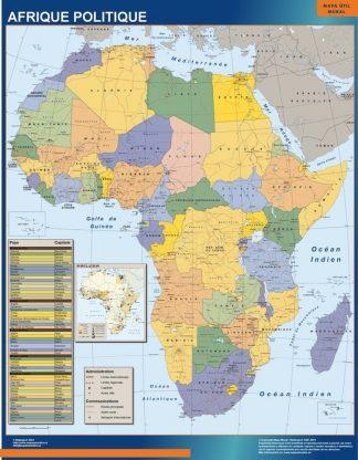 Carte Afrique Politique affiche murale