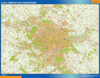 Carte Agglomeration Parisienne affiche murale