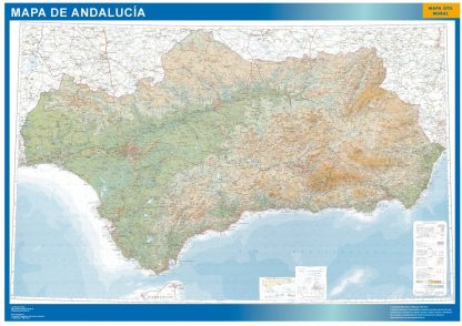 Carte Andalousie physique affiche murale