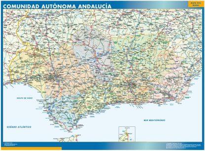 Carte Andalousie affiche murale