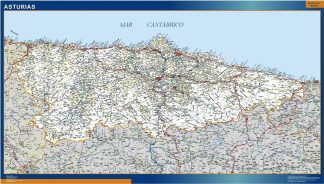 Carte Asturies routiere affiche murale