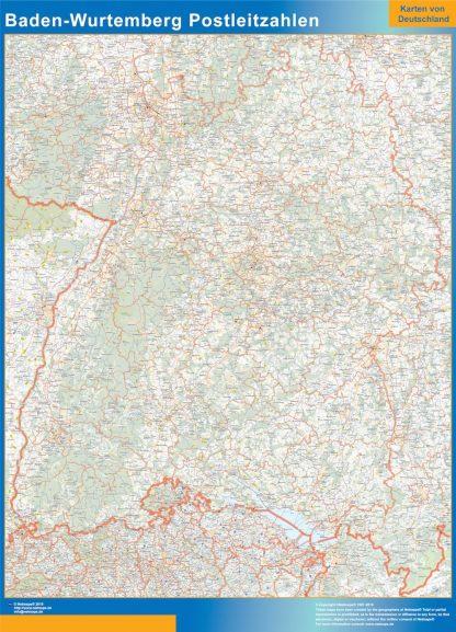 Carte Baden-Wurtemberg codes postaux affiche murale