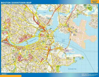 Carte Boston downtown affiche murale