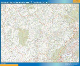 Carte Bourgogne Franche Comte plastifiée codes postaux affiche murale