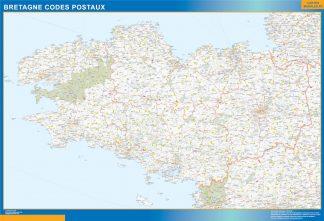 Carte Bretagne plastifiée codes postaux affiche murale