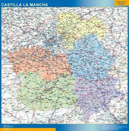 Carte Castille La Manche affiche murale