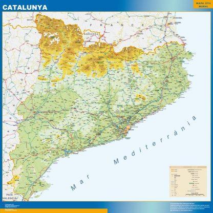Carte Catalogne physique affiche murale