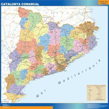 Carte Catalogne politique affiche murale