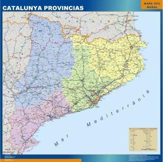 Carte Catalogne provinces affiche murale