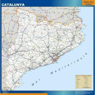 Carte Catalogne routiere affiche murale