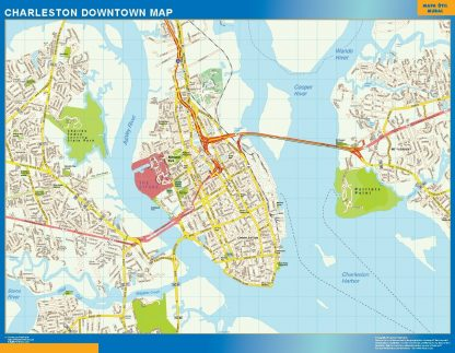 Carte Charleston downtown affiche murale