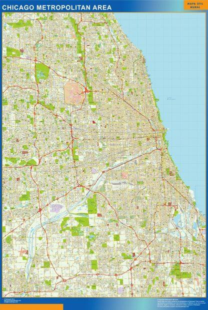 Carte Chicago affiche murale