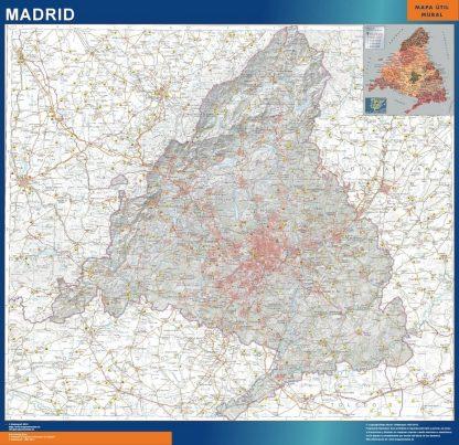 Carte Communauté de Madrid physique affiche murale