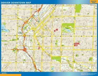 Carte Denver downtown affiche murale
