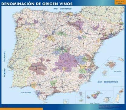 Carte Espagne Désignation Origine Vins affiche murale