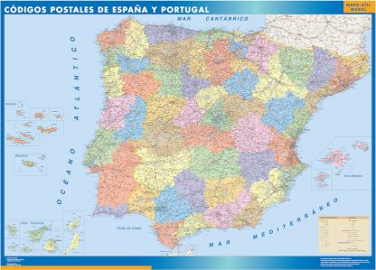 Carte Espagne codes postaux affiche murale