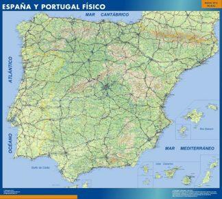 Carte Espagne physique affiche murale