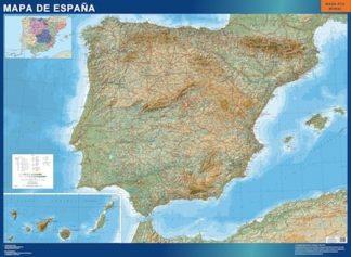 Carte Espagne relief affiche murale