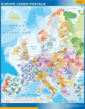 Carte Europe Codes Postaux affiche murale