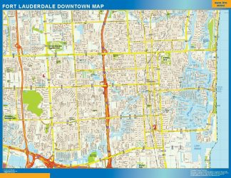 Carte Fort Lauderdale downtown affiche murale