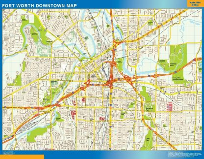 Carte Forth Worth downtown affiche murale