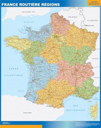 Carte France  Routiere Regions affiche murale