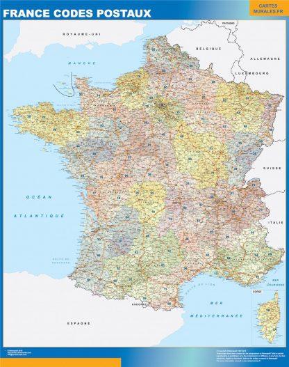 Carte France  codes postaux affiche murale
