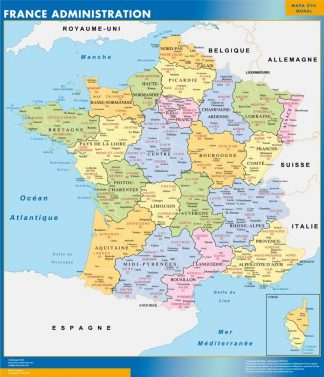 Carte France  départements affiche murale