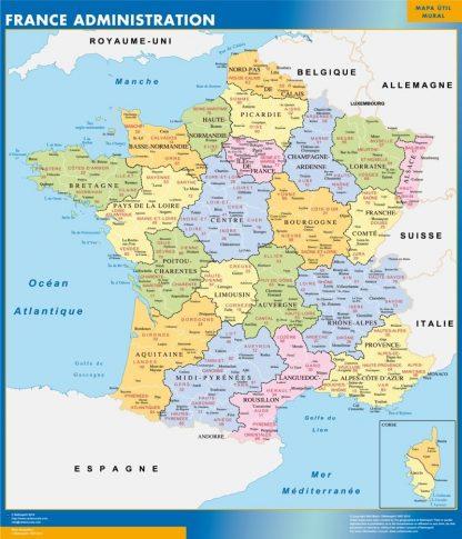 Carte France  départements affiche murale