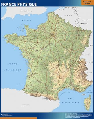 Carte France  physique affiche murale