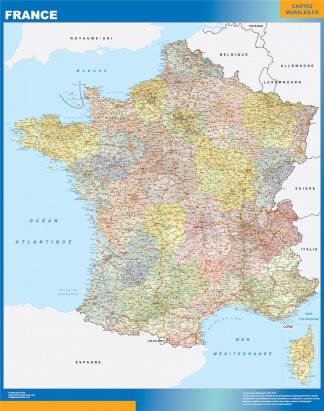 Carte France  politique affiche murale