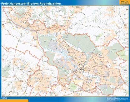 Carte Freie Hansestadt Bremen codes postaux affiche murale