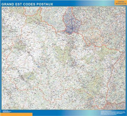 Carte Grand Est plastifiée codes postaux affiche murale