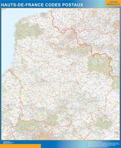Carte Hauts de France plastifiée codes postaux affiche murale