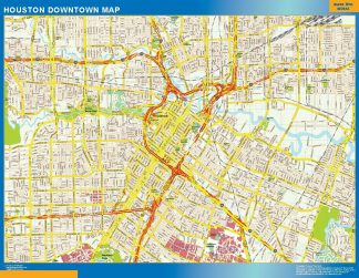 Carte Houston downtown affiche murale