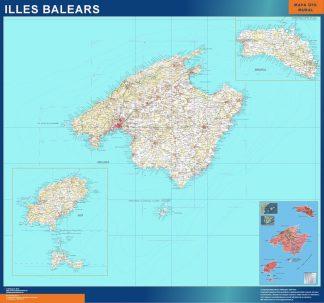 Carte Îles Baléares physique affiche murale