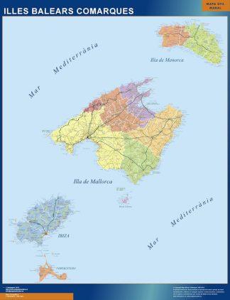 Carte Îles Baléares affiche murale
