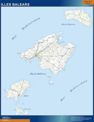Carte Îles Baléares routiere affiche murale