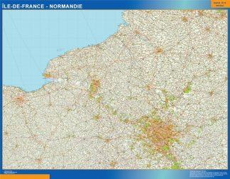 Carte Ile De France Normandie affiche murale