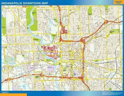 Carte Indianapolis downtown affiche murale
