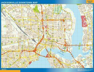 Carte Jacksonville downtown affiche murale