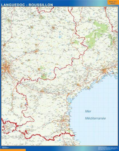 Carte Languedoc Roussillon affiche murale