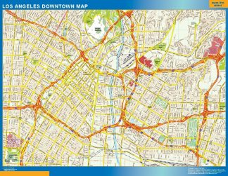 Carte Los Angeles downtown affiche murale