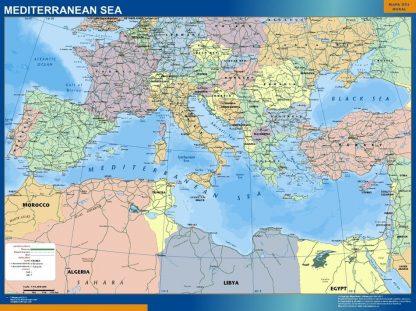 Carte Mediterranee Politique affiche murale