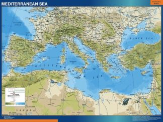 Carte Mer Mediterranee Physique affiche murale