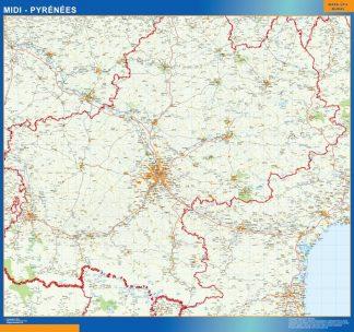 Carte Midi Pyrenees affiche murale