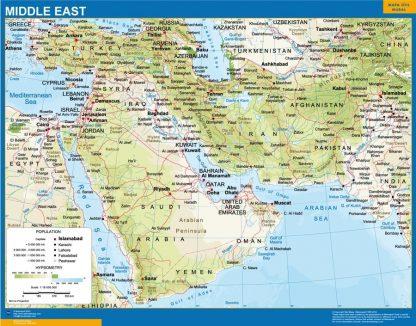 Carte Moyen Orient affiche murale