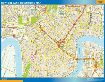 Carte New Orleans downtown affiche murale